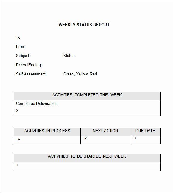 Monthly Progress Report Template Elegant Weekly Status Report Template 28 Free Word Documents