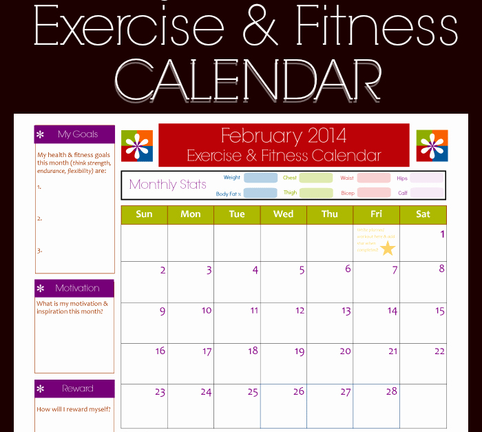 Monthly Workout Schedule Template Fresh 9 Fitness Calendar Templates Excel Templates