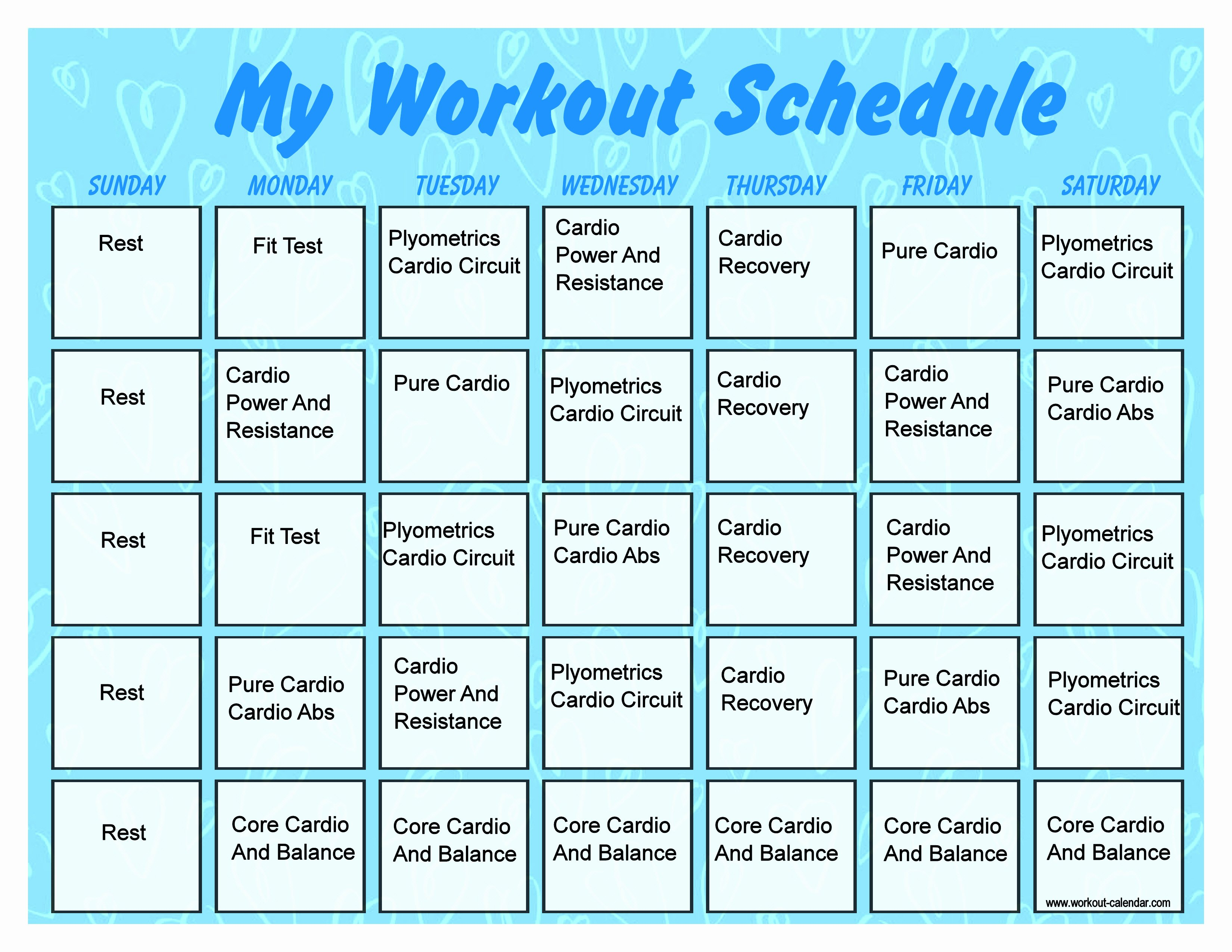 Monthly Workout Schedule Template Inspirational 2013 Insanity Workout Calendar