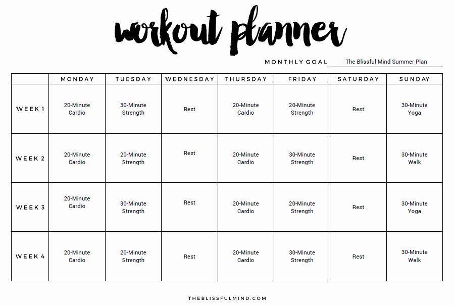 Monthly Workout Schedule Template Inspirational 9 Excel Workout Templates Excel Templates