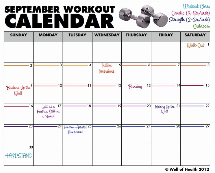Monthly Workout Schedule Template Luxury Workout Calendar Template 2013