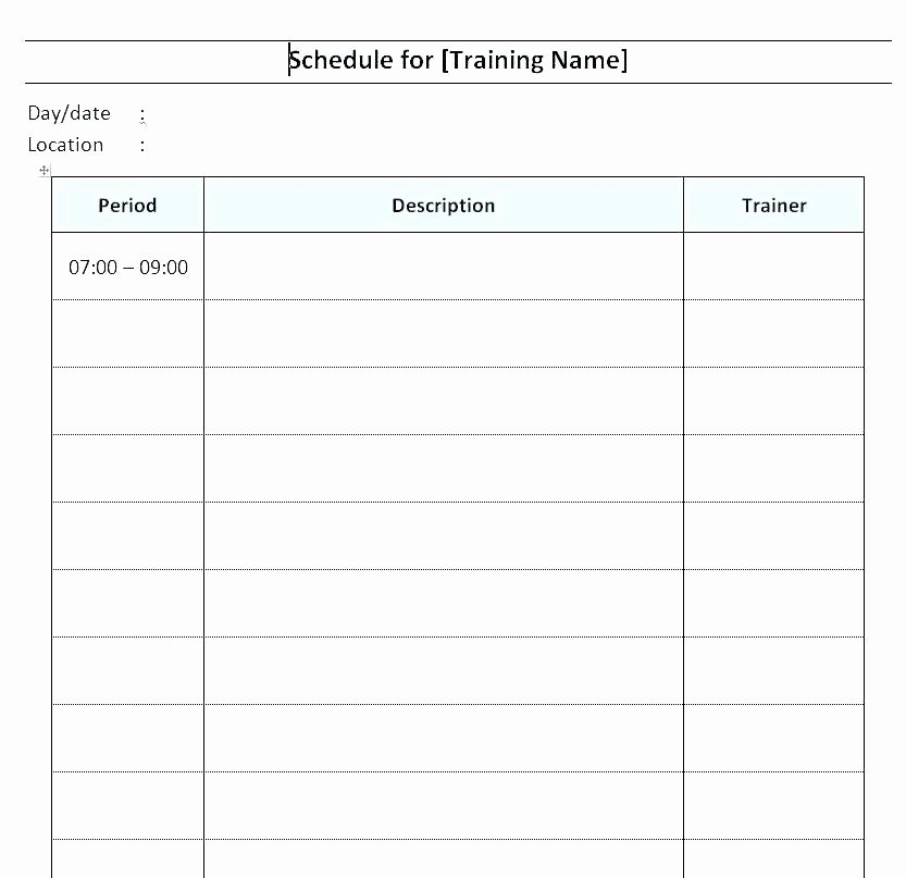 Monthly Workout Schedule Template New Training Calendar Template Monthly Excel Workout