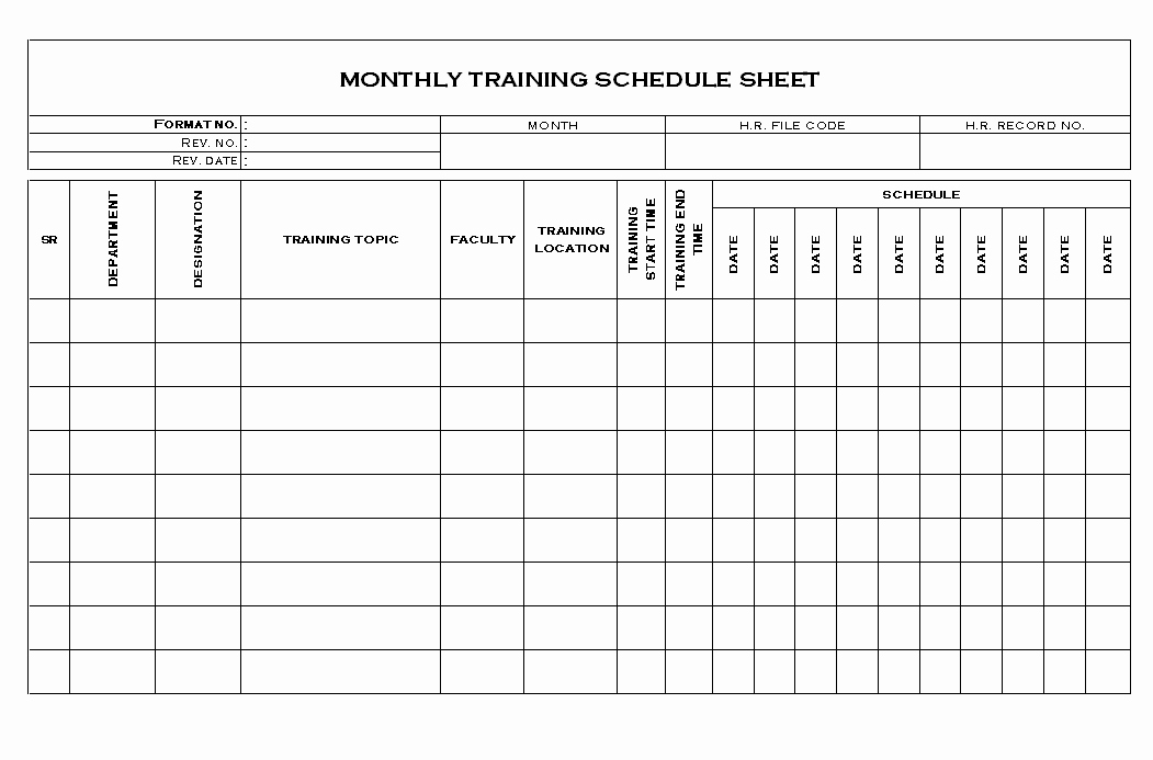 Monthly Workout Schedule Template Unique Excel Training Plan Template Training Schedule Template