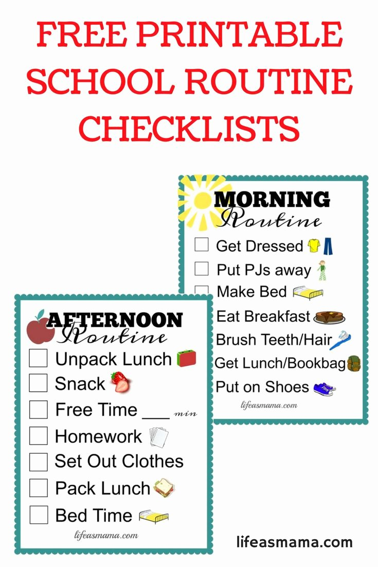 Morning Routine Checklist Template Awesome 79 Best Images About School Days On Pinterest