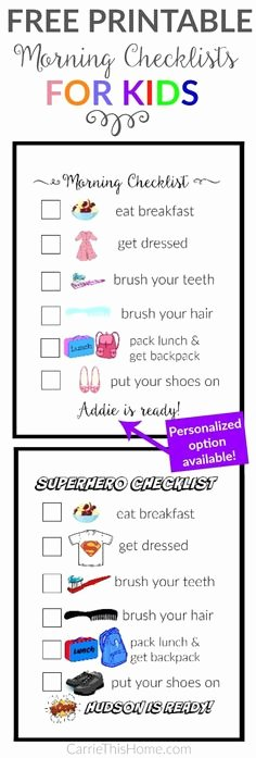 Morning Routine Checklist Template Beautiful Girls Routine Printable Sale Boys Routine Printable