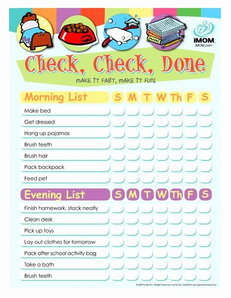 Morning Routine Checklist Template Best Of Check Check Done Checklist for Kids Printable Template