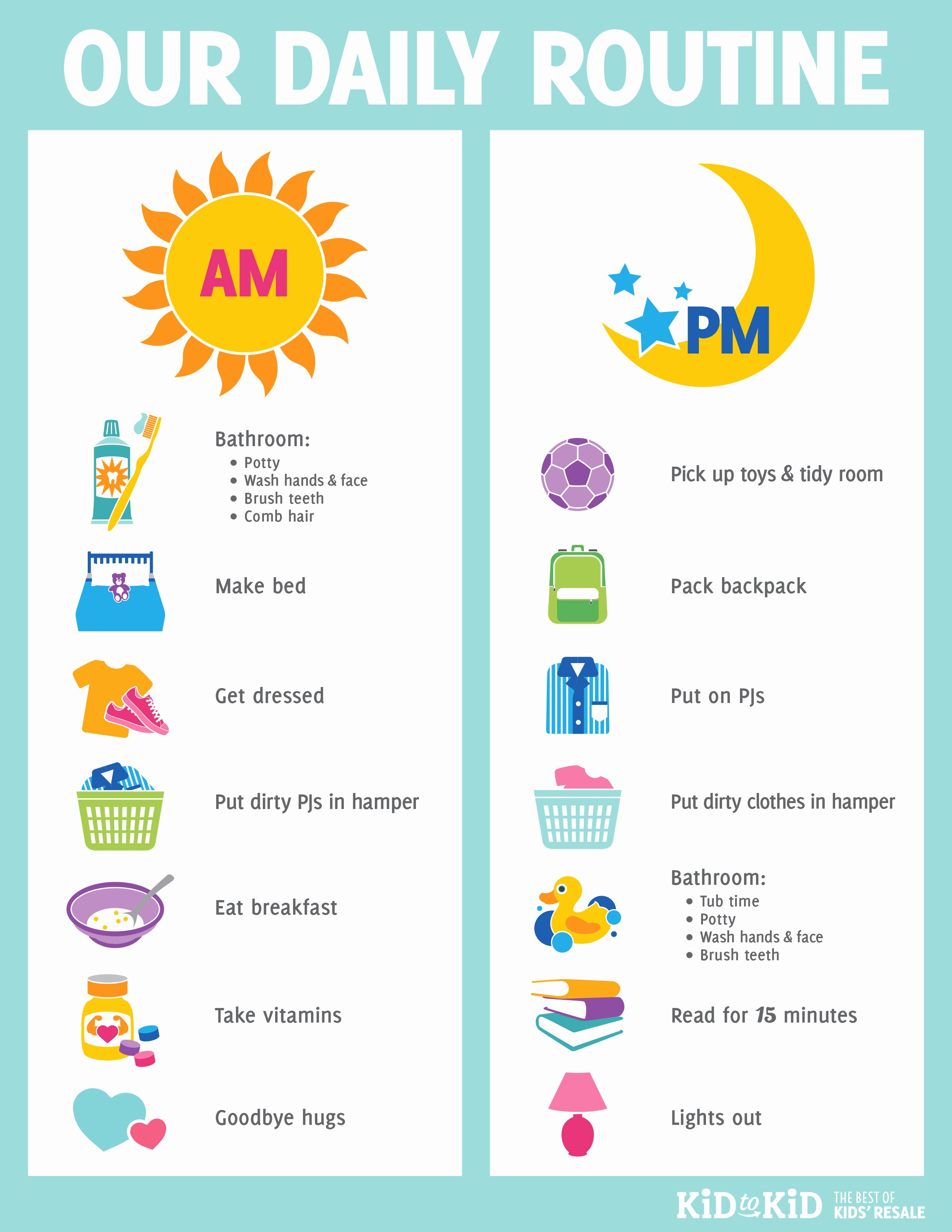 Morning Routine Checklist Template Elegant Printable Daily Routine Chart Kid to Kid