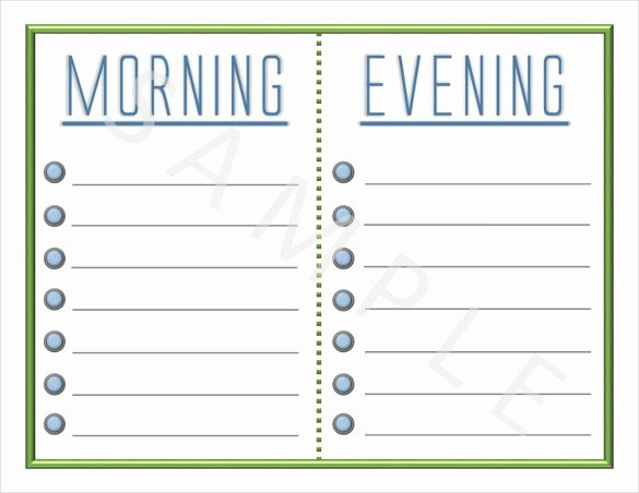 Morning Routine Checklist Template Lovely Editable Morning Routine Chart Chart Designs Template