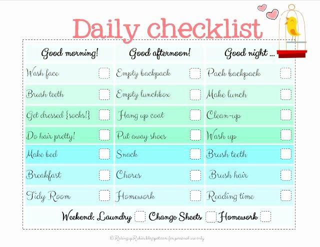 Morning Routine Checklist Template New Best 25 Daily Checklist Ideas On Pinterest