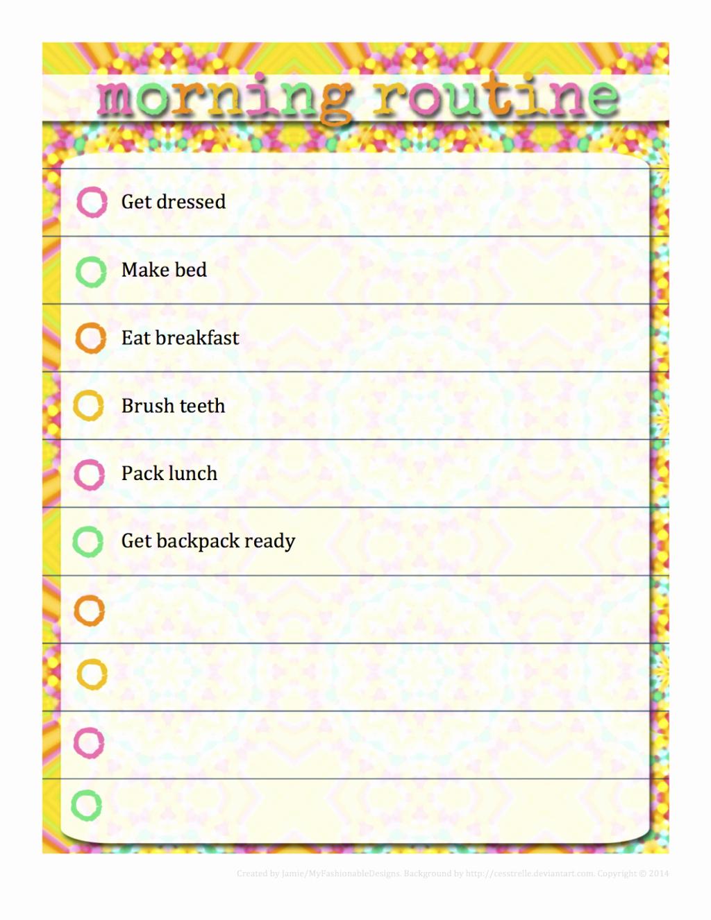 Morning Routine Checklist Template Unique Morning Checklist Template Samples Our Three Peas for Kids