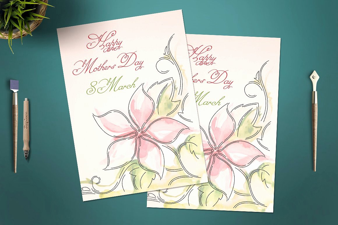 Mothers Day Cards Template Lovely Mother S Day Card Template Card Templates Creative Market