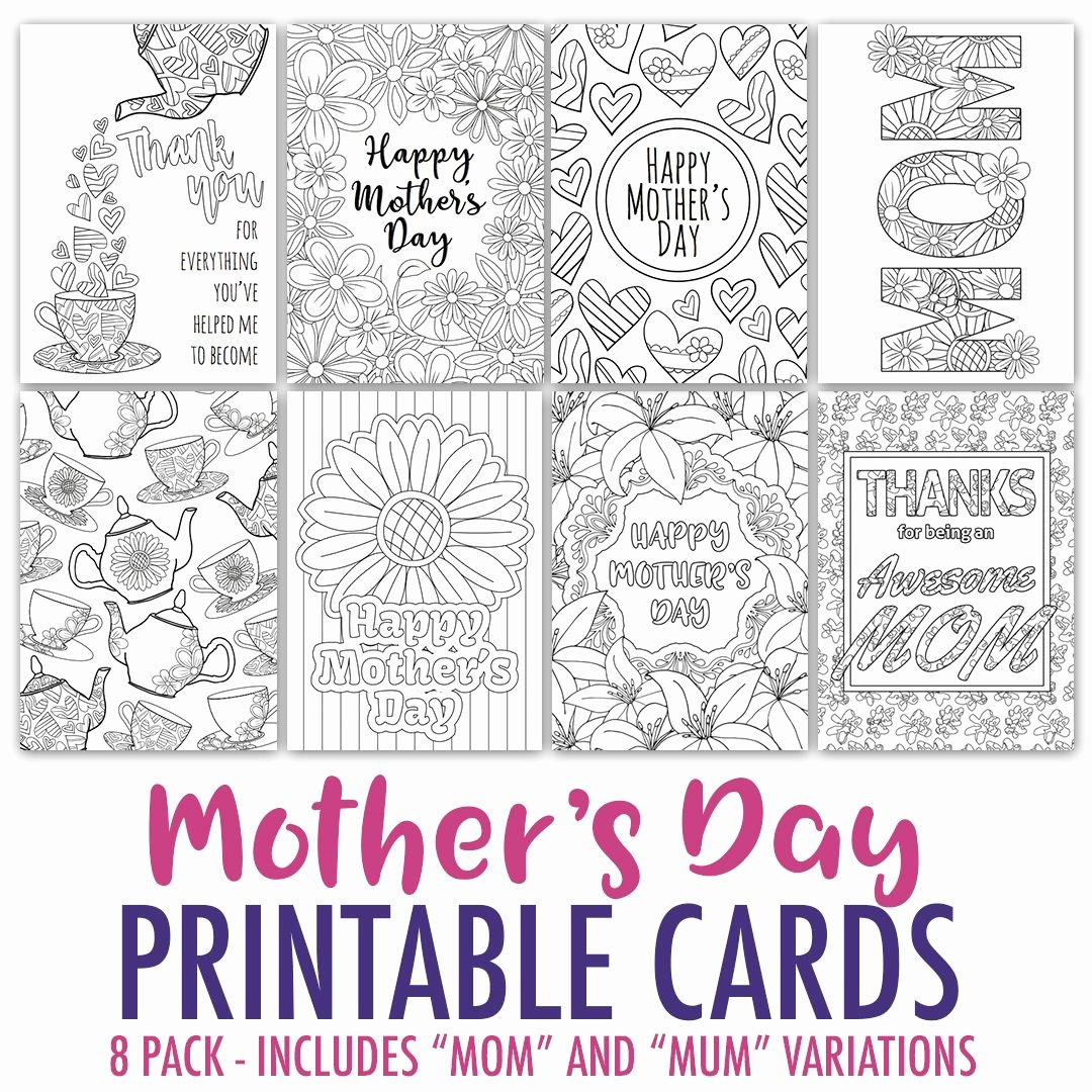 Mothers Day Cards Template Lovely Mother S Day Coloring Cards