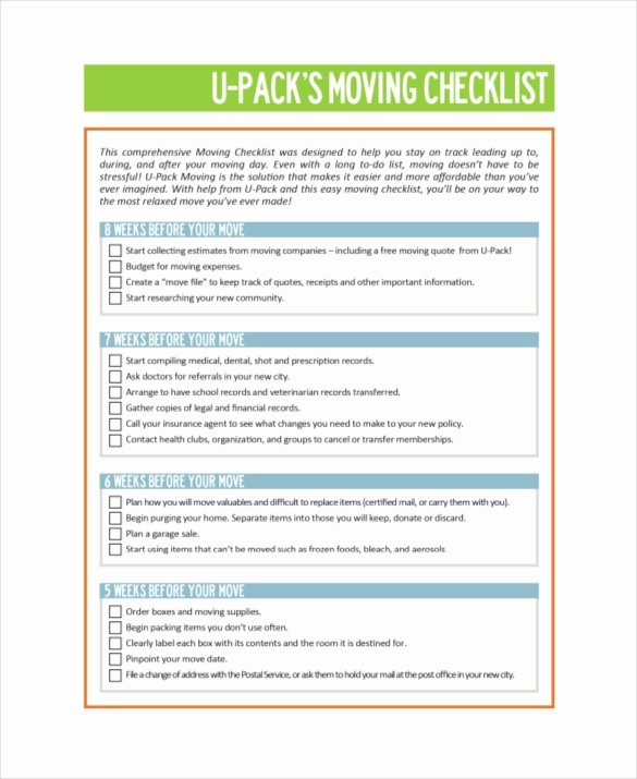 Move In Checklist Template Beautiful Moving Checklist Template 20 Word Excel Pdf Documents