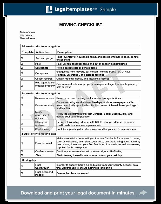 Move In Checklist Template Fresh Moving Checklist Template