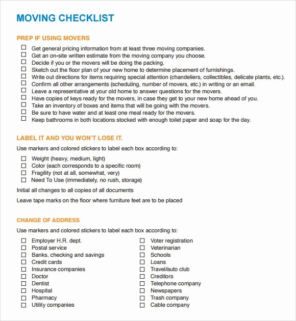 Move In Checklist Template Lovely Moving Checklist Templates