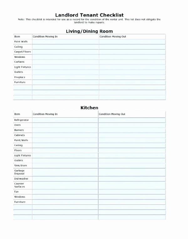 Move In Checklist Template New Apartment Walk Through Checklist Tenant Move In Move Out