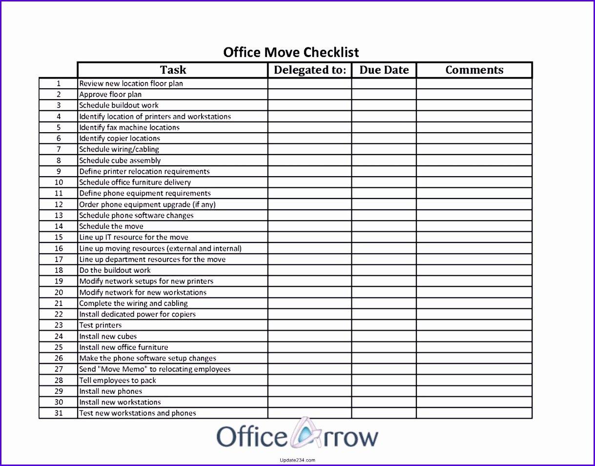 Move In Checklist Template Unique 9 Excel Template Checklist Exceltemplates Exceltemplates