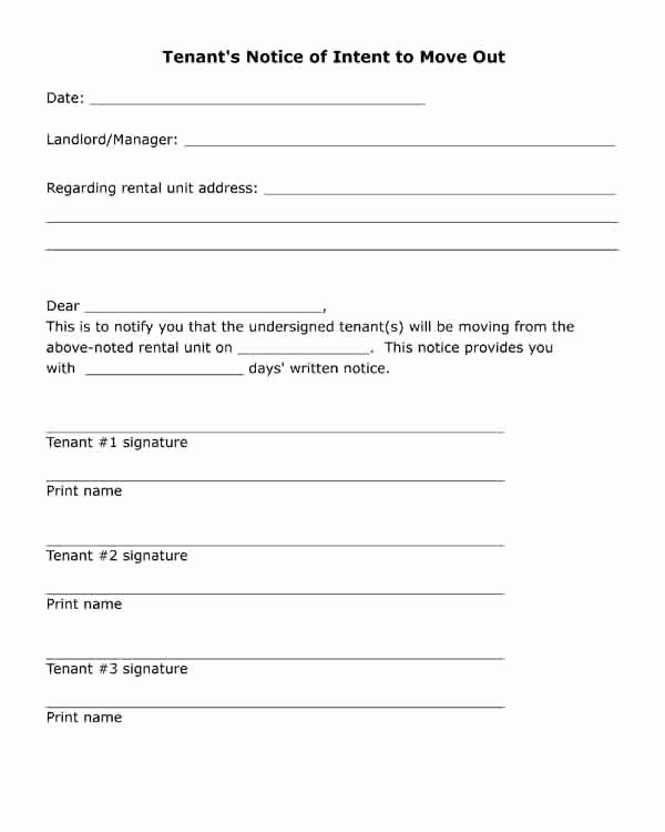 Move Out Letter Template Fresh Free Printable Letter Tenant S Notice Of Intent to Move
