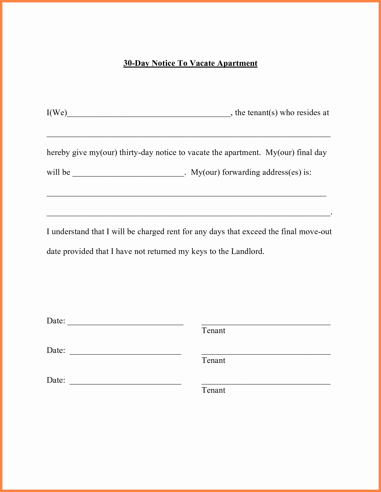 Move Out Letter Template Luxury Notice to Vacate Apartment Sample Letter Latest