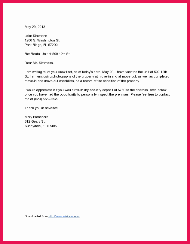 Move Out Letter Template New Letter to Landlord Moving Out