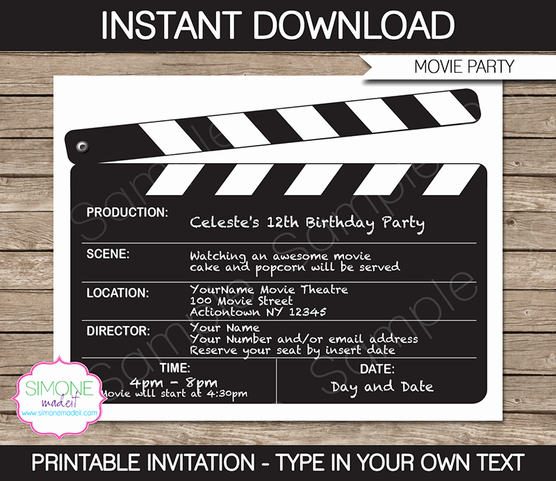 Movie Night Invitation Template Best Of Movie Night Party Invitations Template