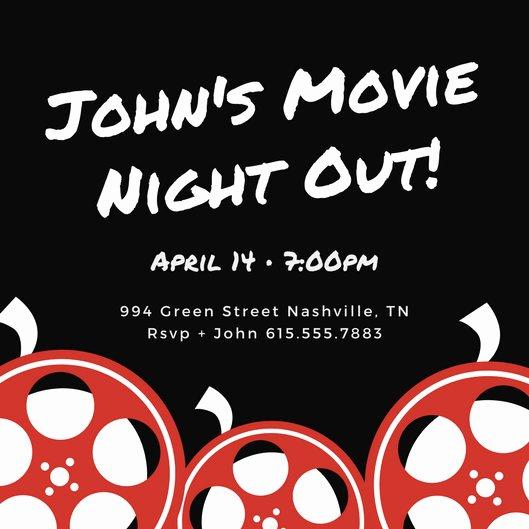 Movie Night Invitation Template Elegant Movie Night Invitation Templates Canva