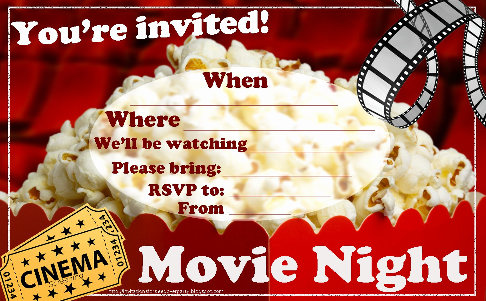 Movie Night Invitation Template Fresh Invitations for Sleepover Party