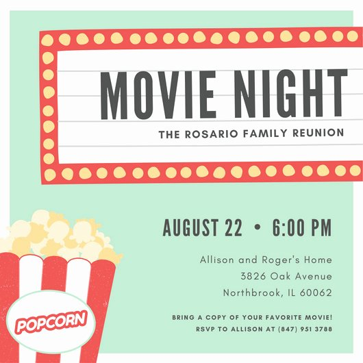 Movie Night Invitation Template Inspirational Customize 646 Movie Night Invitation Templates Online Canva