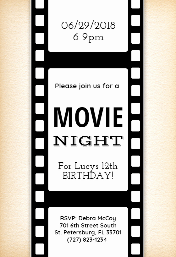 Movie Night Invitation Template Inspirational Movie Night Invitation Template Free