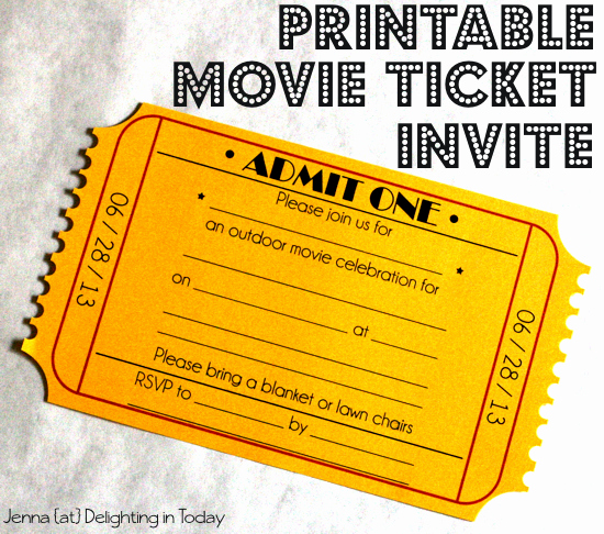 Movie Night Invitation Template Lovely Free Printable Movie Ticket Invite Video Tutorial On