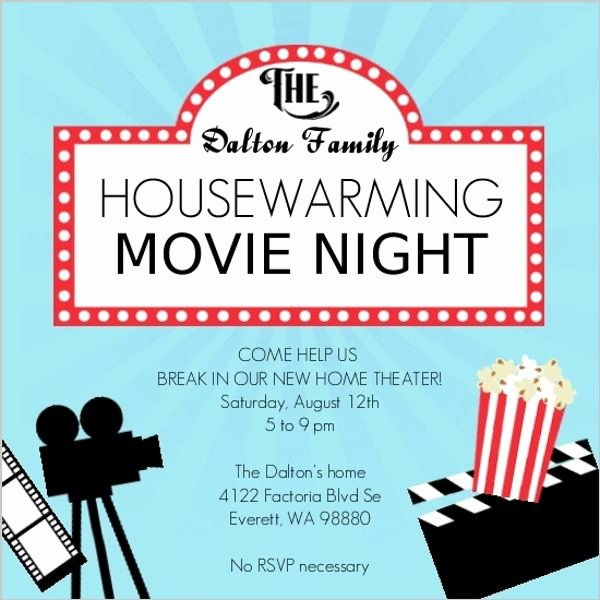 Movie Night Invitation Template Lovely Movie Night Housewarming Party Invitation