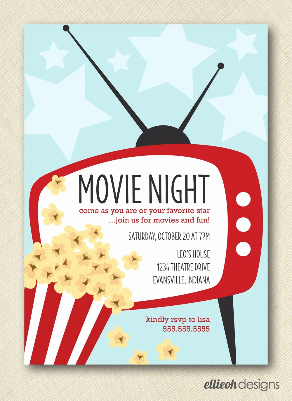 Movie Night Invitation Template Lovely Movie Night Invite Printable Digital File Diy by