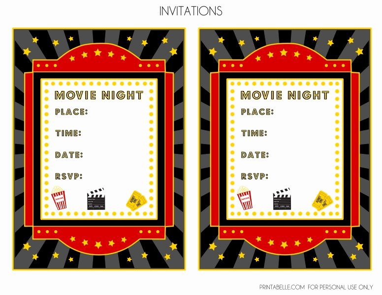 Movie Night Invitation Template New Free Movie Night Party Printables by Printabelle