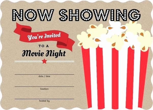 Movie Night Invitation Template New Movie Night Ticket Template Party Invitation Free