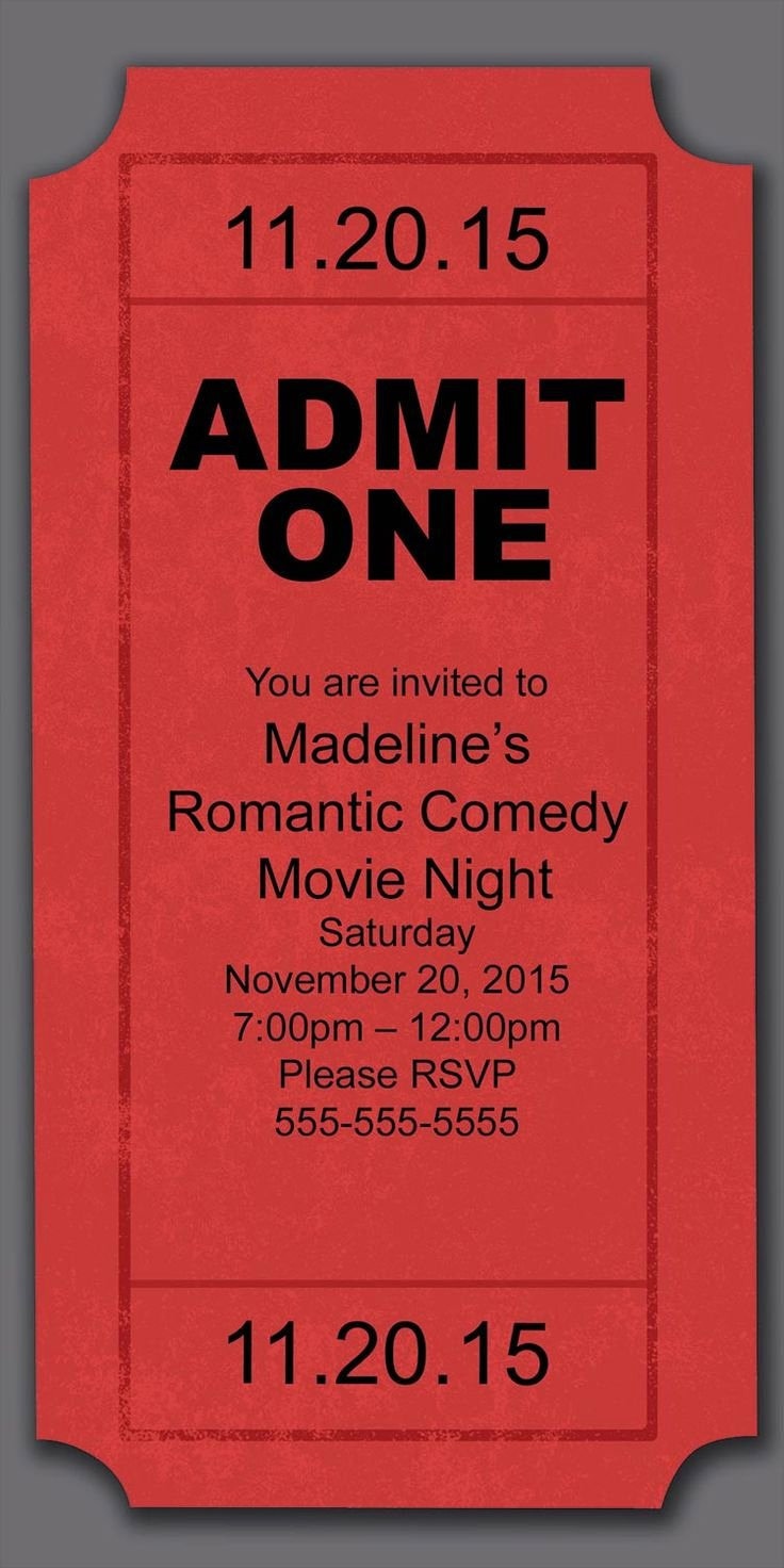Movie Night Invitation Template Unique Best 25 Movie Party Invitations Ideas On Pinterest
