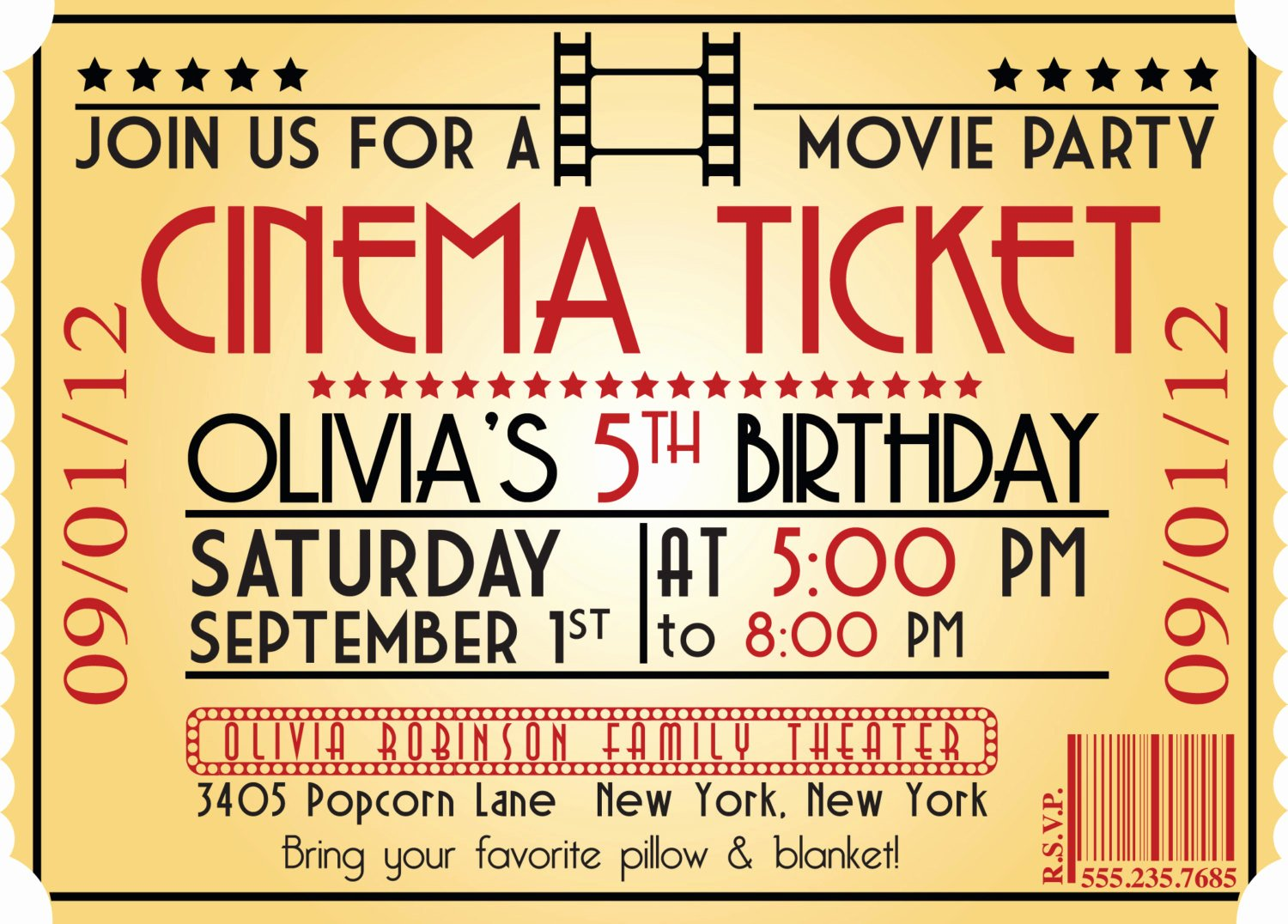 Movie Night Invitation Template Unique Movie Ticket Birthday Invitations Ideas – Bagvania Free