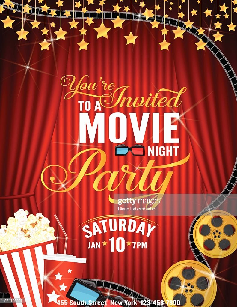 Movie Night Invite Template Awesome Movie Night Party Invitation Template with Red Curtain and