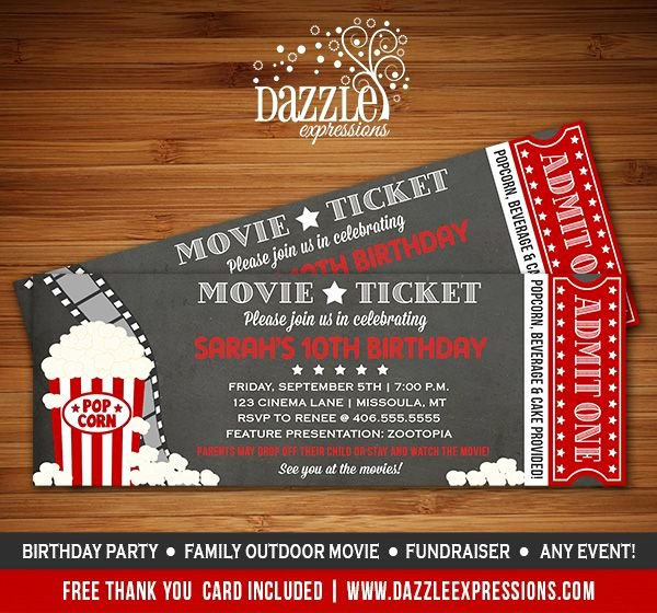 Movie Night Invite Template Awesome Printable Chalkboard Movie Ticket Birthday Invitation