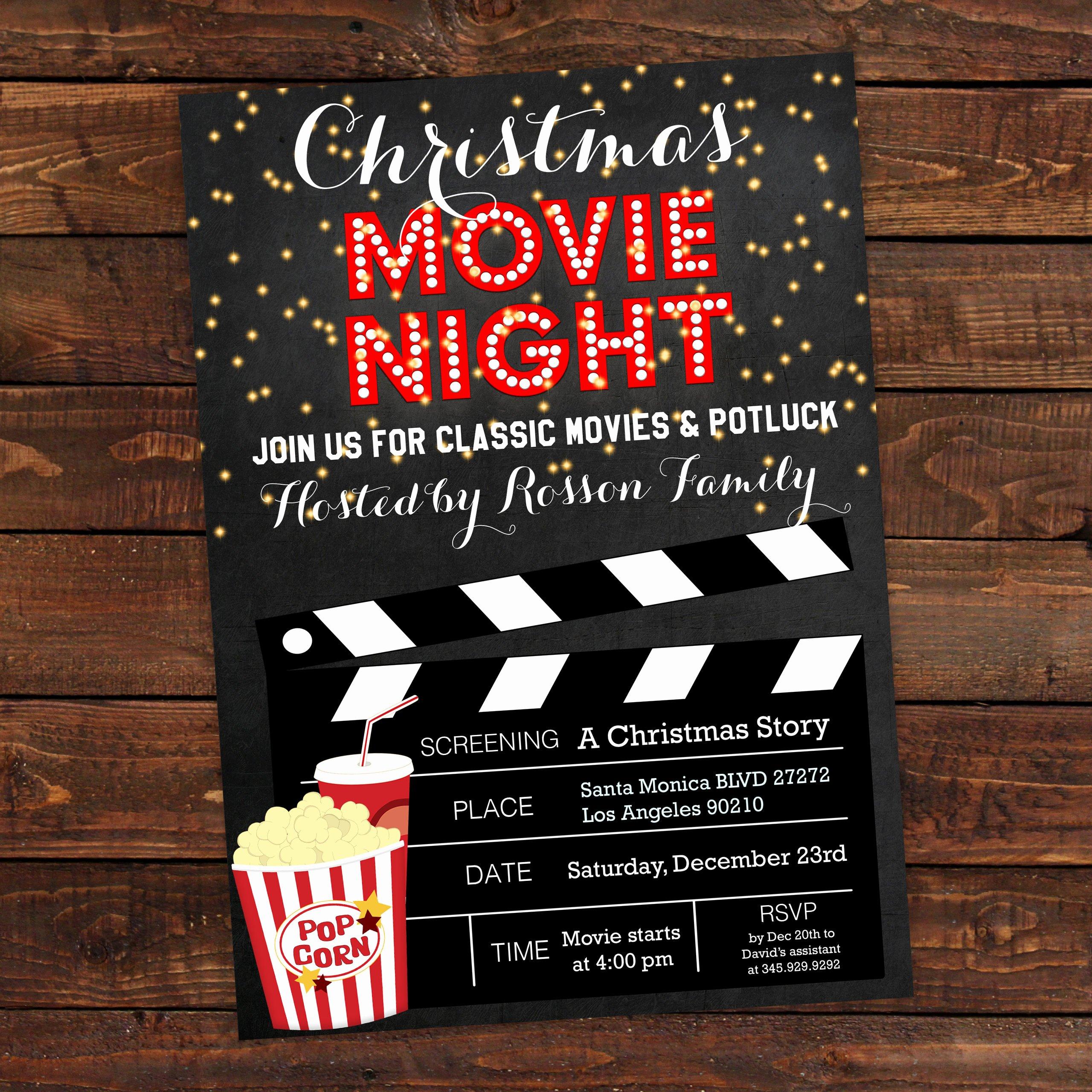 Movie Night Invite Template Beautiful Christmas Movie Party Invitation Christmas Movie Night