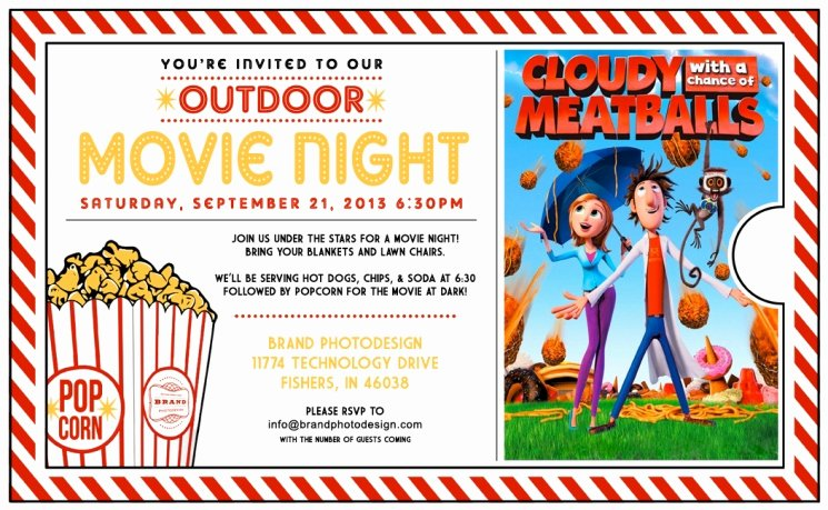 Movie Night Invite Template Beautiful Outdoor Movie Night Invitation Template