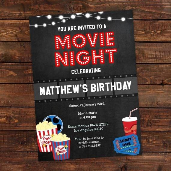 Movie Night Invite Template Beautiful Printable Movie Night Party Invitation