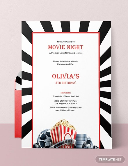 Movie Night Invite Template Elegant Free Movie Night Invitation Template Download 537