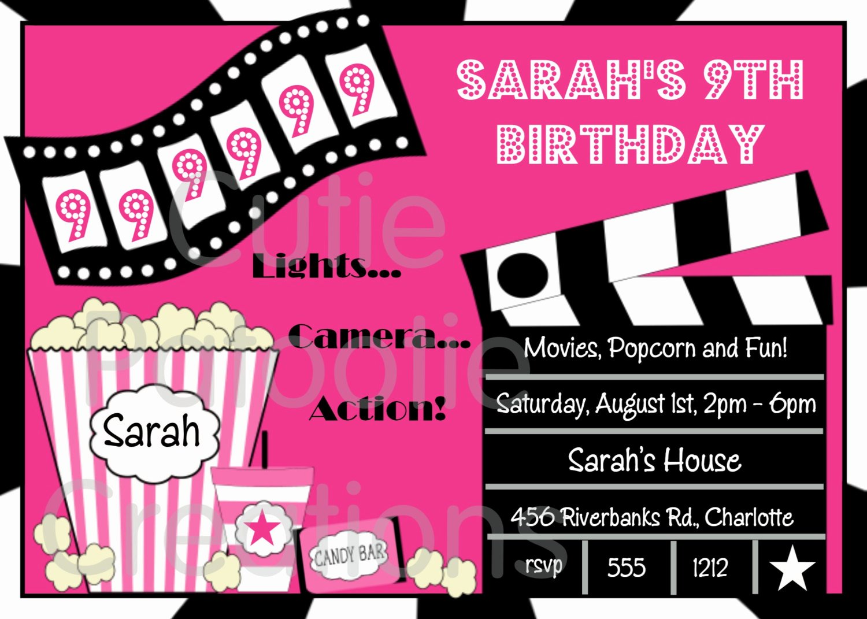 Movie Night Invite Template Elegant Free Printable Movie Night Birthday Party Invitations