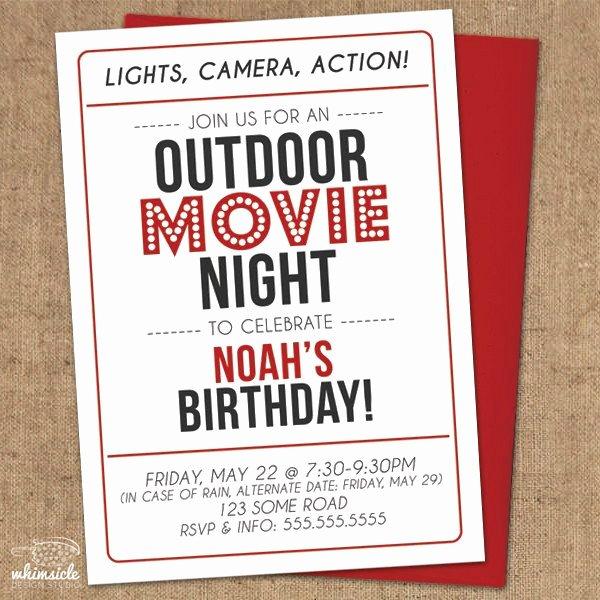 Movie Night Invite Template Fresh Movie Night Invitation Diy Printable Outdoor Backyard
