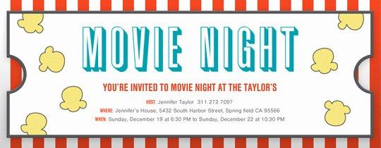 Movie Night Invite Template Inspirational Birthday for Kids Free Online Invitations