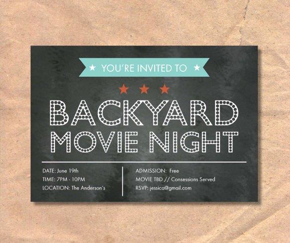 Movie Night Invite Template Inspirational Chalkboard Invitation Template 43 Free Jpg Psd
