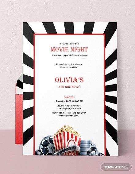 Movie Night Invite Template Inspirational Free Movie Night Invitation Template Download 537