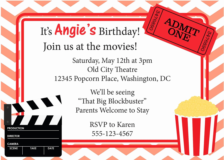 Movie Night Invite Template Inspirational Free Movie Ticket Invitation Template Free Excel Template