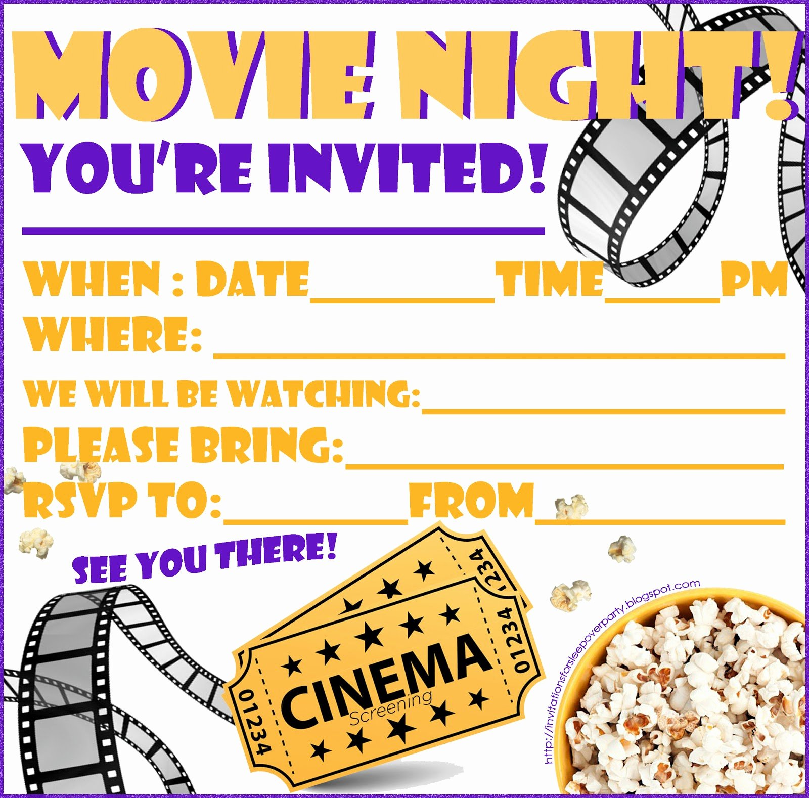 Movie Night Invite Template Inspirational Invitations for Sleepover Party
