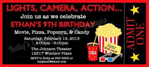 Movie Night Invite Template Lovely Movie Night Ticket Invitation Custom Printable